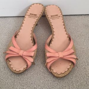 Moschino woven and leaked pink sandal heel vintage